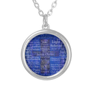The Names of Jesus Christ blue cross art Silver Plated Necklace