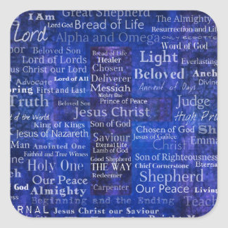The Names of Jesus Christ blue cross art Square Sticker