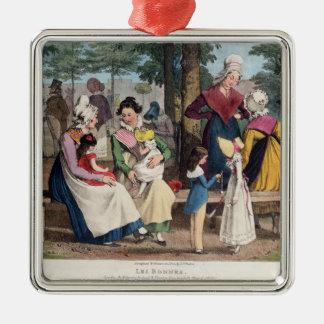 The Nannies, 1820 Silver-Colored Square Ornament