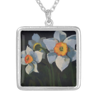 The Narcissus Flower Necklace. Silver Plated Necklace