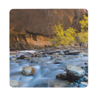 The Narrows Of The Virgin River In Autumn Drink Coaster Puzzle
