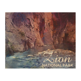 The Narrows Zion National Park Wood Print