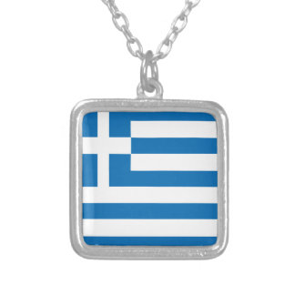 The National flag of Greece Silver Plated Necklace