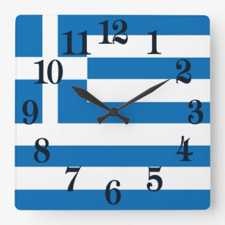 The National flag of Greece Square Wall Clock