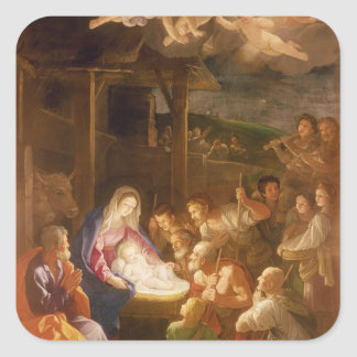 The Nativity at Night, 1640 Square Sticker