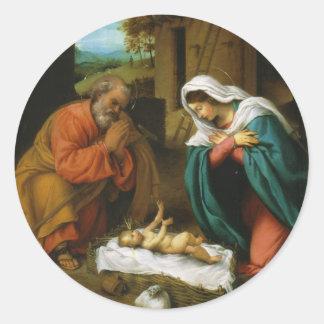 The Nativity Christi Geburt by Lorenzo Lotto Classic Round Sticker