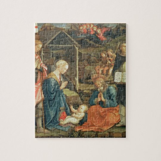 The Nativity with SS. Michael and Dominic, 1470 (t Jigsaw Puzzle