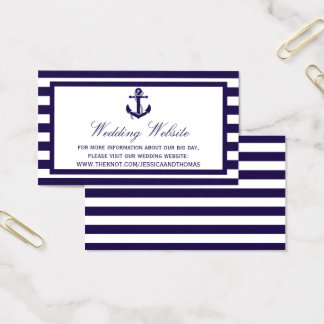 The Nautical Anchor Navy Stripe Wedding Collection Business Card