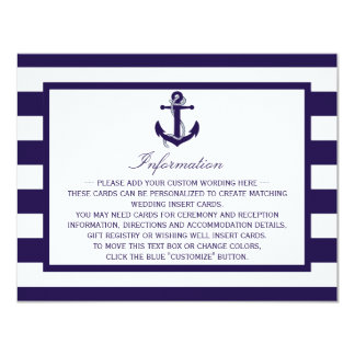 "The Nautical Anchor Navy Stripe Wedding Collection 4.25"" X 5.5"" Invitation Card"