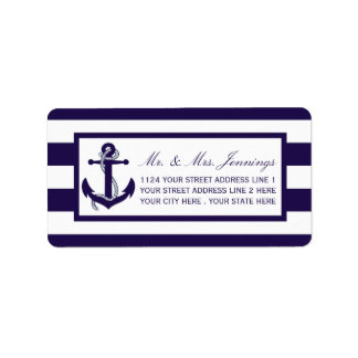 The Nautical Anchor Navy Stripe Wedding Collection Address Label