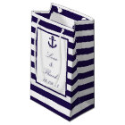 The Nautical Anchor Navy Stripe Wedding Collection Small Gift Bag