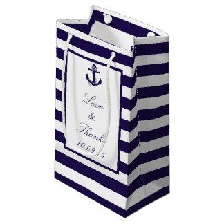 The Nautical Anchor Navy Stripe Wedding Collection Small Gift Bag