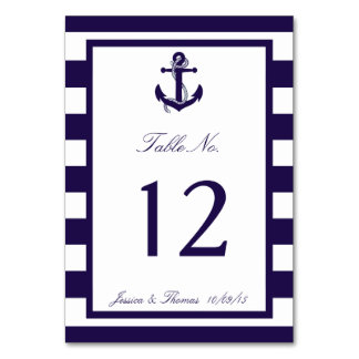 The Nautical Anchor Navy Stripe Wedding Collection Table Card
