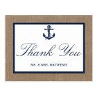 The Navy Anchor On Burlap Beach Wedding Collection Postcard