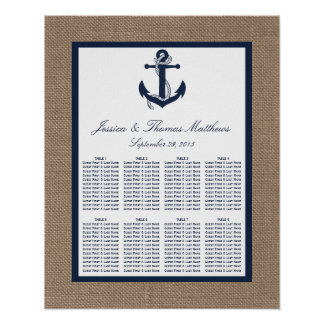 The Navy Anchor On Burlap Beach Wedding Collection Poster