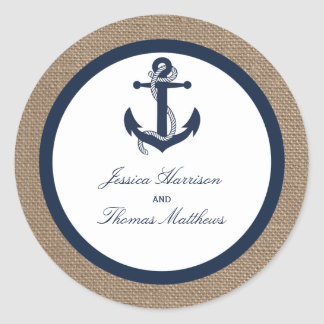 The Navy Anchor On Burlap Beach Wedding Collection Round Sticker