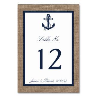 The Navy Anchor On Burlap Beach Wedding Collection Table Card