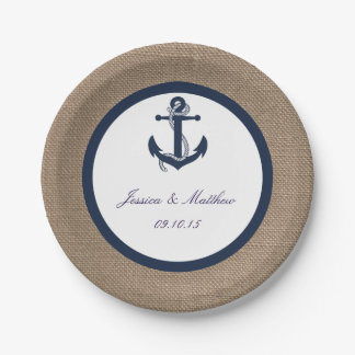 The Navy Anchor On Burlap Collection Paper Plate