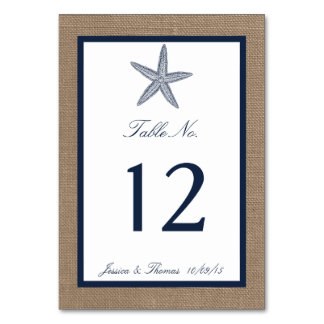 The Navy Starfish Burlap Beach Wedding Collection Card