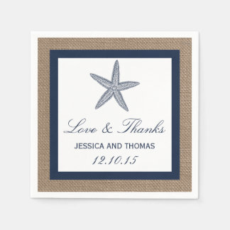 The Navy Starfish Burlap Beach Wedding Collection Paper Napkin