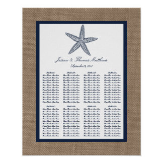 The Navy Starfish Burlap Beach Wedding Collection Poster