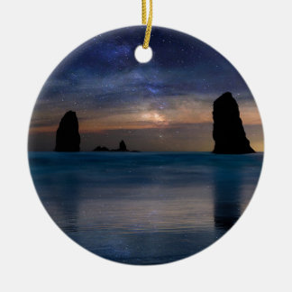 The Needles Rocks Under Starry Night Sky Ceramic Ornament