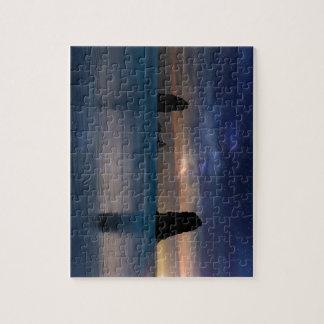 The Needles Rocks Under Starry Night Sky Jigsaw Puzzle