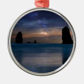The Needles Rocks Under Starry Night Sky Metal Ornament