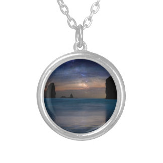 The Needles Rocks Under Starry Night Sky Silver Plated Necklace