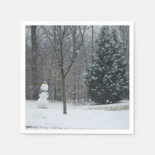The Neighbour's Snowman Winter Snow Photography Disposable Napkin