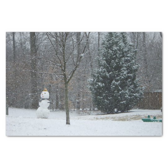 The Neighbour's Snowman Winter Snow Photography Tissue Paper