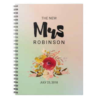 The New Mrs -  Floral Watercolor Bouquet Wedding Notebook