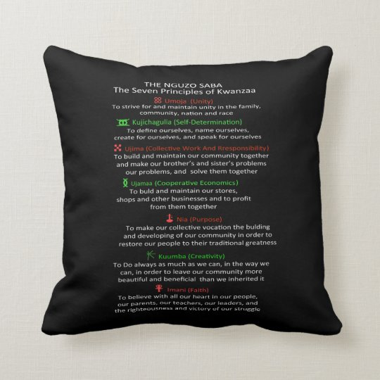 The Nguzo Saba Kwanzaa Throw Pillow