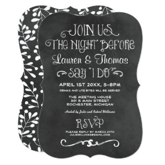 The Night Before Invitation | Black Chalkboard