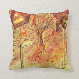 The night road story of a walking house throw pillow
