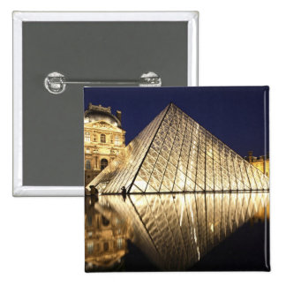 The night view of the glass Pyramid of Musee du 2 Inch Square Button
