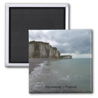 The Normandy coast in France - lesson Petites Dall Square Magnet