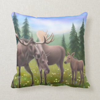 The Northern Moose Family Pillow