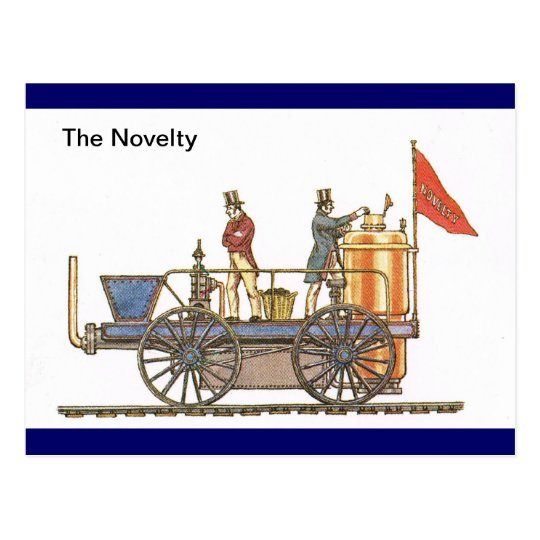 The Novelty, early steam train Postcard