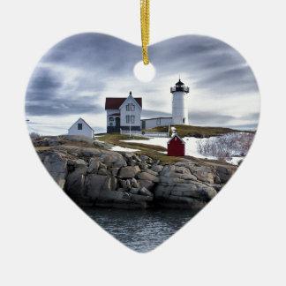 "The ""Nubble"" Cape Neddick lighthouse York, Maine Ceramic Ornament"