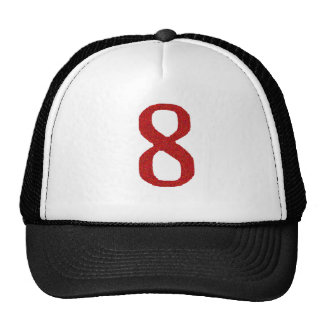 THE NUMBER 8 IN RED TRUCKER HAT