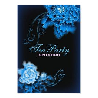thé nuptiale floral de ressort bleu vintage de carton d'invitation  12,7 cm x 17,78 cm
