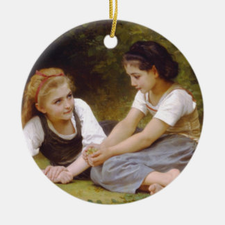 The Nut Gatherers by William Adolphe Bouguereau Round Ceramic Ornament