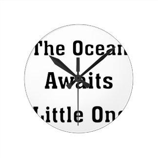 The Ocean Awaits Little One Round Clock