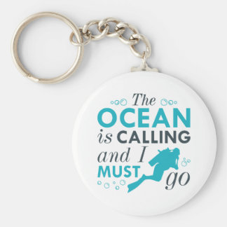 The Ocean Is Calling Basic Round Button Keychain