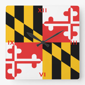 The official flag of the state of Maryland Square Wall Clock