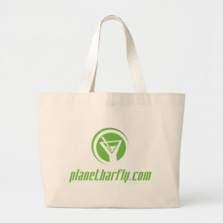 The official planetbarfly.com logo in green canvas bag