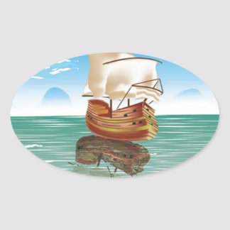 The old boat and the sea oval sticker