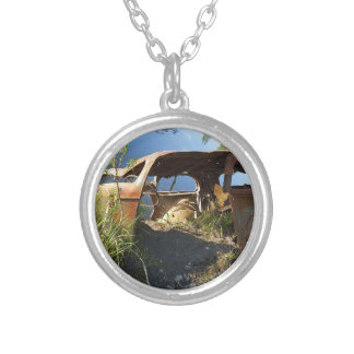 The Old Cars of Eklutna Tailrace Silver Plated Necklace
