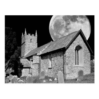 The old church and moon postcard